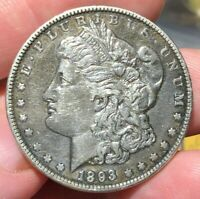 1893 O MORGAN SILVER DOLLAR $1 KEY DATE EXTRA FINE /AU DETAIL OLD TIME CLEANING