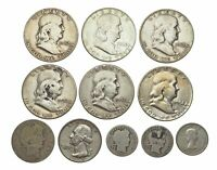 LOT OF 11 ASSORTED SILVER COINS FRANKLIN HALVES BARBER DIME/