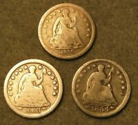 3 PIECE SEATED LIBERTY SILVER HALF DIME UNITED STATES COIN L
