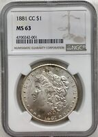 1881-CC MORGAN SILVER DOLLAR $1 NGC MINT STATE 63 FROSTY KEY DATE