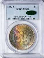 1882-S MORGAN PCGS MINT STATE 66 CAC-VERIFIED COLORFUL RAINBOW-TONED SILVER DOLLAR