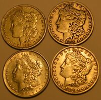 1891P; 1891O; 1891S AND 1891CC MORGAN SILVER DOLLARS 90 SILVER WITH FREE S/H.