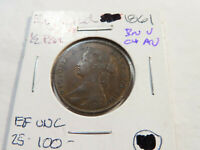 L108 GREAT BRITAIN 1861 1/2 PENNY BROWN CHOICE AU