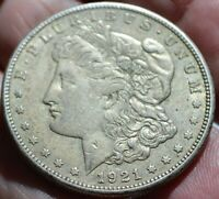 1921S TONED AU MORGAN SILVER DOLLAR 90 SILVER WITH FREE S/H.