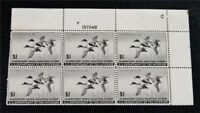 NYSTAMPS US DUCK PLATE BLOCK STAMP  RW12 MINT OG NH $600 PLA