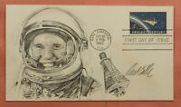 1962 FDC 1193 PROJECT MERCURY ARTIST PAUL CALLE HAND DRAWN S
