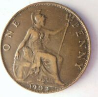 1902 GREAT BRITAIN PENNY   AU SHARP   GREAT COIN   LOT A11