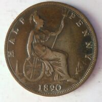 1890 GREAT BRITAIN 1/2 PENNY   UNCOMMON DATE   GREAT QUALITY
