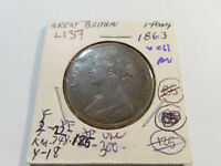 L137 GREAT BRITAIN 1863 PENNY VERY CHOICE AU