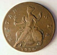 1730 GREAT BRITAIN 1/2 PENNY   UNCOMMON DATE   HIGH QUALITY