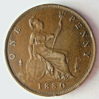 1880 GREAT BRITAIN PENNY   UNCOMMON DATE   AU   GREAT QUALIT