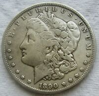 1890-CC $1 MORGAN SILVER DOLLAR VAM 4 TAILBAR TOUGH VARIETY VF