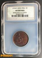 PHILIPPINES CENTAVO 1916-S NCS AU DETAILS CLEANED BUT STILL  APPEARANCE