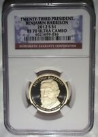 2012-S BENJAMIN HARRISON PRESIDENTIAL DOLLAR PROOF NGC PF70 ULTRA CAMEO $1