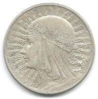 POLAND SILVER 1932 10 ZLOTYCH Y 22 COIN RADIANT HEAD OF QUEEN JADWIGA