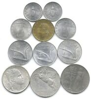 ITALY LOT OF 11 DIFFERENT 2 5 10 20 & 100 LIRE COINS 1950   1958