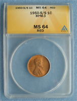 1950 S/S LINCOLN WHEAT CENT - ANACS GRADED MINT STATE 64 RED RPM-3 1C PENNY RD ERROR
