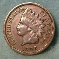 1908 S INDIAN HEAD PENNY SMALL CENT BETTER GRADE UNITED STAT