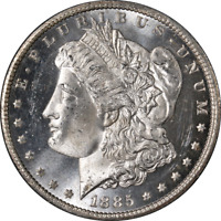 1885-CC MORGAN SILVER DOLLAR BU DETAILS BLAZING WHITE GEM STRONG STRIKE