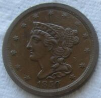 1850 1/2C BRAIDED HAIR HALF CENT  DATE AU DETAIL    WE HAVE THE TOUGH DATES