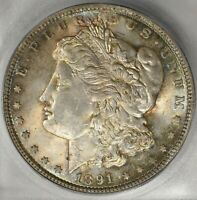 1891-P MORGAN SILVER $1 ICG MINT STATE 64  ALL ORIGINAL DOLLAR  THIS