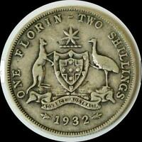 AUSTRALIA 1932 FLORIN OLD SILVER WORLD COIN KEY DATE