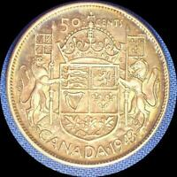 CANADA 1943 50 CENTS OLD SILVER WORLD COIN HIGH GRADE