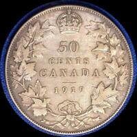 CANADA 1919 50 CENTS OLD STERLING SILVER WORLD COIN