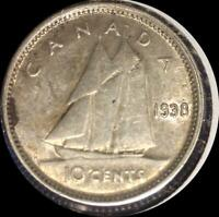 CANADA 1938 10 CENTS OLD SILVER WORLD COIN HIGH GRADE