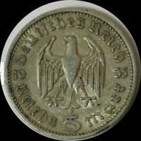GERMANY 1935 A 5 REICHMARKS OLD SILVER WORLD COIN HIGH GRADE