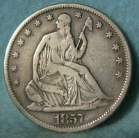 1857 S SEATED LIBERTY SILVER HALF DOLLAR BETTER GRADE DETAIL