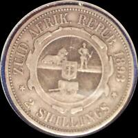 SOUTH AFRICA 1893 2 SHILLINGS OLD SILVER WORLD COIN
