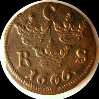 SWEDEN  1666 1/6 ORE OLD WORLD COIN