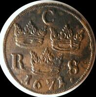 SWEDEN  1671 1/6 ORE OLD WORLD COIN