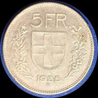 SWITZERLAND 1935 5 FRANCS OLD SILVER WORLD COIN