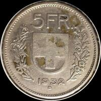 SWITZERLAND 1932 5 FRANCS OLD SILVER WORLD COIN