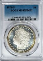1879-S MORGAN PCGS MINT STATE 65DMPL CAMEO DEEP MIRROR PROOFLIKE SILVER DOLLAR GEM