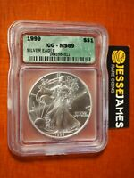 1999 $1 AMERICAN SILVER EAGLE ICG MINT STATE 69 GREEN LABEL