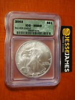 2003 $1 AMERICAN SILVER EAGLE ICG MINT STATE 69 GREEN LABEL