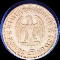 GERMANY 1936 E 5 REICHMARKS OLD SILVER WORLD COIN HIGH GRADE