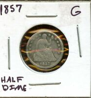 1857 UNITED STATES SILVER SEATED LIBERTY HALF DIME H10C COIN