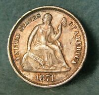 1871 SEATED LIBERTY SILVER HALF DIME SHARP HIGH GRADE UNITED