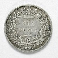 GB VICTORIA 'YOUNG HEAD' SILVER SIXPENCE   1838    NICE GRAD