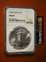 1986 $1 AMERICAN SILVER EAGLE NGC MINT STATE 69 CLASSIC BROWN LABEL