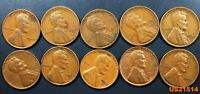 WHEAT CENTS 10 DIFFERENT CIRCULATED DATES FROM 1940'S & 1950'S SHIPS FREE U.S