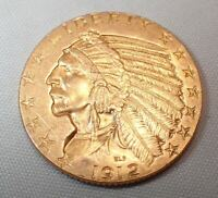 1912 INDIAN HEAD GOLD $5 HALF EAGLE COIN FROM PRIVATE COLLEC