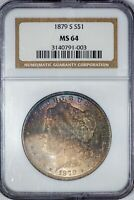 1879-S MORGAN NGC MINT STATE 64 COLOR-TONED SILVER DOLLAR