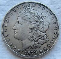 1878 8TF $1 MORGAN SILVER DOLLAR EXTRA FINE  DETAILS MINOR SCRATCH ON NECK 8 TAILFEATHERS
