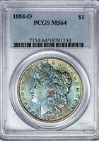 1884-O MORGAN PCGS MINT STATE 64 COLOR-TONED SILVER DOLLAR