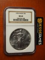 1993 $1 AMERICAN SILVER EAGLE NGC MINT STATE 69 CLASSIC BROWN LABEL